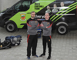 Kit men for the Mayo senior football team Liam Ludden from Castlebar and Shane Halligan Ballindine.<br /> Pic Conor McKeown