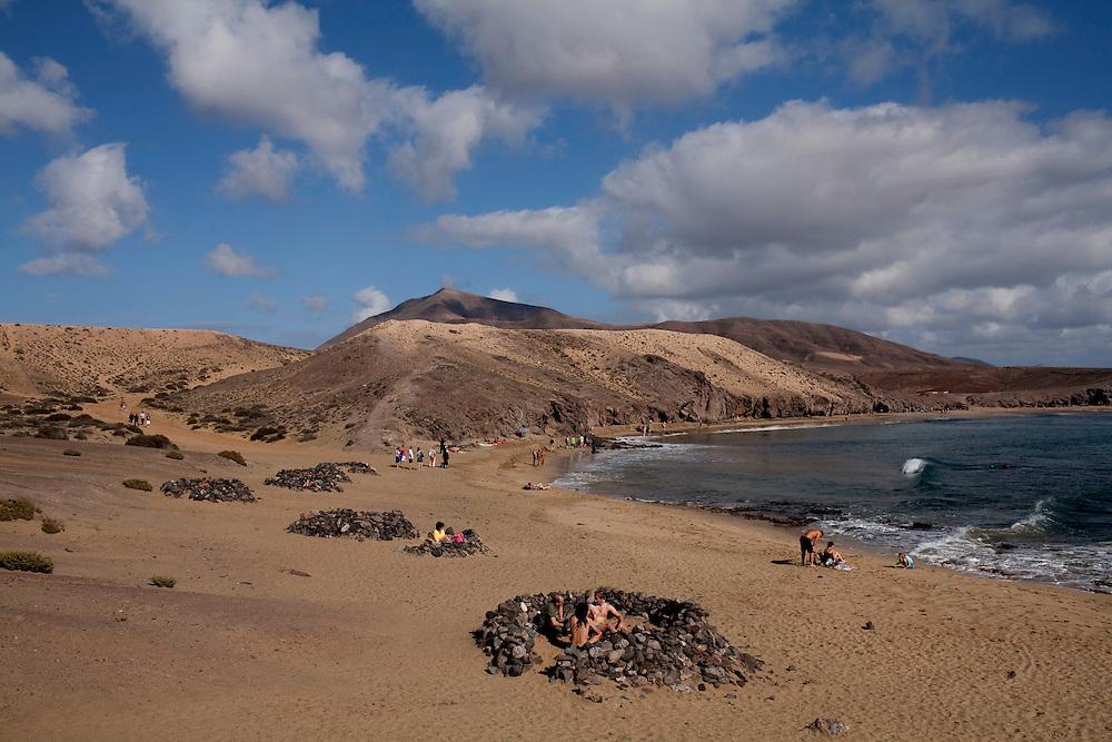 Punta del Papagayo en el parque nacional de los Ajaches. Playa Blanca. Isla de Lanzarote.