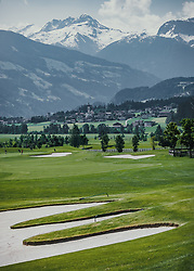 THEMENBILD - Der Blick vom Loch 7 auf das Dorf Ried und die umliegende Bergwelt. Der 18-Loch-Championshipplatz bietet eine überdachter Drivingrange für PROS und Anfänger. Die Sportsresidenz Zillertal bildet das Herz der Anlage und ist gleichzeitig das beliebte Clubhaus des Golfplatzes, aufgenommen am 06. Juni 2019 in Uderns Oesterreich // The view from hole 7 to the village Ried and the surrounding mountains. The 18-hole championship course offers a covered driving range for PROS and beginners. The Sportsresidenz Zillertal forms the heart of the course and is also the popular clubhouse of the golf course, in Uderns, Austria on 2019/06/06. EXPA Pictures © 2019, PhotoCredit: EXPA/Stefanie Oberhauser