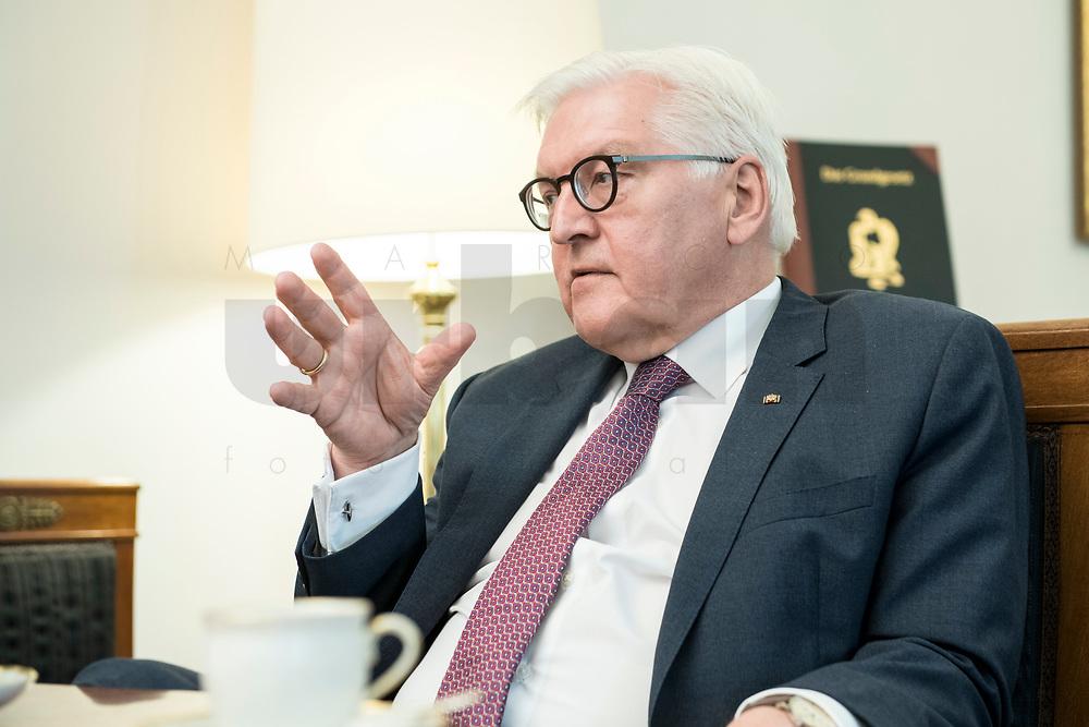 02 JUL 2018, BERLIN/GERMANY:<br /> Frank-Walter Steinmeier, Bundespraesident, waehrend einem Interview, Amtszimmer des Bundespraesidenten, Schloss Bellevue<br /> IMAGE: 20180702-01-028<br /> KEYWORDS: Bundespräsident