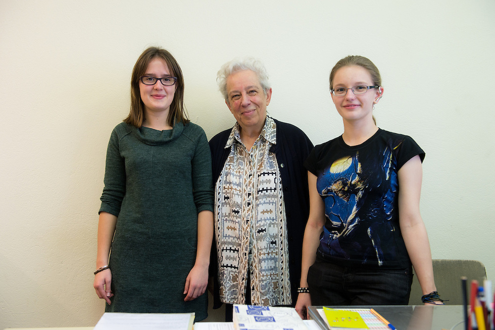 Polish students with physicist Maria Fidecaro