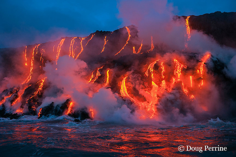 red hot lava from Kilauea Volcano flows into ocean at West Kailiili ocean entry in Hawaii Volcanoes National Park, west of Kalapana, Hawaii Island ( the Big Island ), Hawaiian Islands, U.S.A. ( Central Pacific Ocean )
