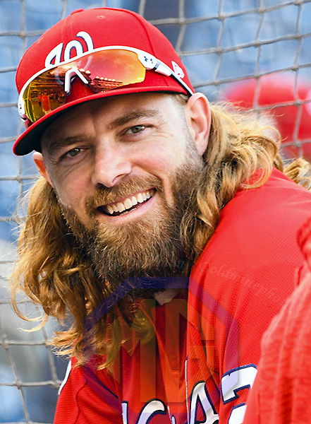 WASHINGTON, DC - OCTOBER 06: Washington Nationals left fielder Jayson Werth (28) takes batting practice prior to the first game of the National League Division Series on October 6, 2017  at Nationals Park in Washington, D.C.  (Photo by Mark Goldman/Icon Sportswire)