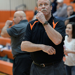 Staff photos by Tom Kelly IV<br /> Marple Newtown's head coach looks up at the clock during the Bishop Shanahan at Marple Newtown girls basketball game, during the 7th annual holiday tournament on Saturday, December 27, 2014.
