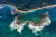 Looking down onto Pacific Ocean beaches near Hanalei in Kauai, Hawaii, USA