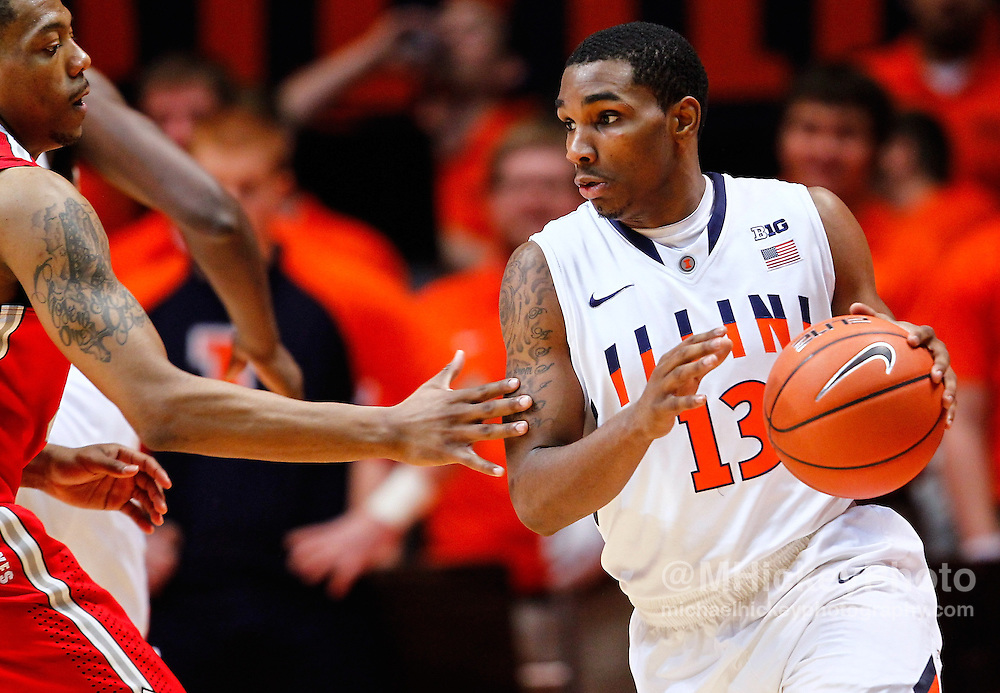 CHAMPAIGN, IL - JANUARY 05: Tracy Abrams #13 of the Illinois Fighting Illini is seen during the game against the Ohio State Buckeyes at Assembly Hall on January 5, 2013 in Champaign, Illinois. Ilinois defeated Ohio State 74-55. (Photo by Michael Hickey/Getty Images) *** Local Caption *** Tracy Abrams