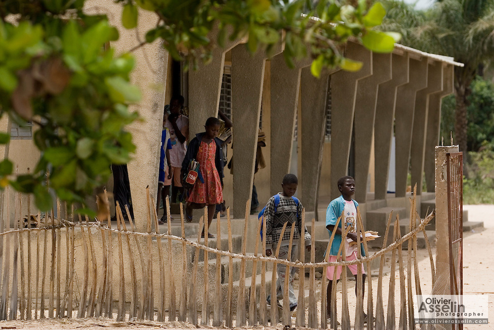 Children leave school at the Essaout primary school in the village of Essaout, Senegal, on Thursday June 14, 2007...