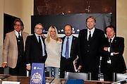Pesaro , 06/03/2012<br /> Basket, conferenza stampa presentazione all star game 2012<br /> Nella foto: franco del moro, valentino renzi, dino meneghin<br /> Foto Ciamillo