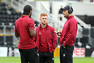 Cameron Jerome of Norwich, Harrison Reed of Norwich and Yanic Wildschut of Norwich before the Sky Bet Championship match at Craven Cottage, London<br /> Picture by Paul Chesterton/Focus Images Ltd +44 7904 640267<br /> 05/08/2017