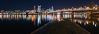 Portland Skyline and Hawthorne Bridge, at night<br /> <br /> Shot in Portland, OR, USA