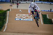 #343 (BRESCHAN Noah) SUI at Round 2 of the 2020 UCI BMX Supercross World Cup in Shepparton, Australia.