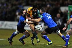 Ken Pisi (Northampton) drops the ball in contact - Photo mandatory by-line: Patrick Khachfe/JMP - Tel: Mobile: 07966 386802 07/12/2013 - SPORT - RUGBY UNION -  Franklin's Gardens, Northampton - Northampton Saints v Leinster - Heineken Cup.