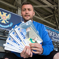 St Johnstone's Tam Scobbie pictured at McDiarmid Park launching the sale of the 2015-16 Season Tickets...01.05.15<br /> Those that buy or renew their season tickets before the 12th June get a free copy of the 'Our Day In May' book which celebrates St Johnstone's famous Scottish Cup Final win on the 17th May 2014.<br /> Picture by Graeme Hart.<br /> Copyright Perthshire Picture Agency<br /> Tel: 01738 623350  Mobile: 07990 594431