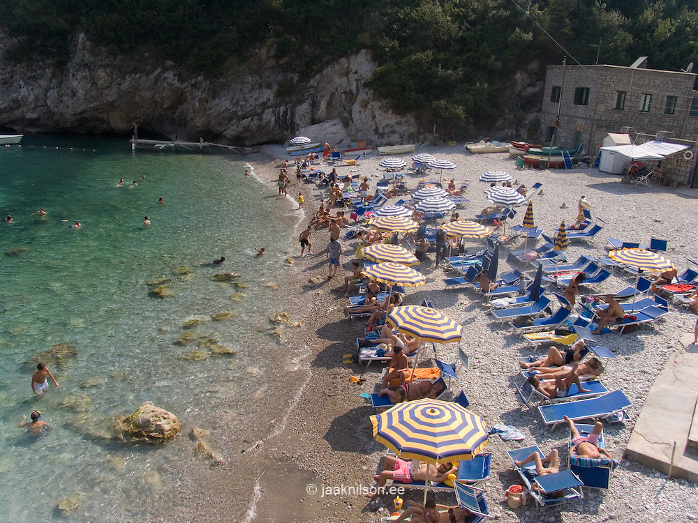 Sunbathers on Beach, Mediterranean Coast, Sorrento Peninsula, Italy, Europe