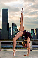New York City Dance Photography- Dance As Art Gantry State Park with ballerina Mykaila Symes En Pointe Handstand