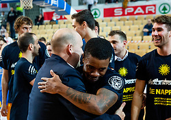 Matej Avanzo and Corin Darius Henry of Sixt Primorska celebrate after winning during basketball match between KK Sixt Primorska and KK Hopsi Polzela in final of Spar Cup 2018/19, on February 17, 2019 in Arena Bonifika, Koper / Capodistria, Slovenia. KK Sixt Primorska became Slovenian Cup Champion 2019. Photo by Vid Ponikvar / Sportida