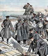 Russo-Japanese War 1904-1905:  Russian artillery battery defending Port Arthur. From 'Le Petit Journal', Paris, 27 March 1904.