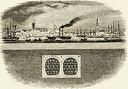 'Cross section showing the relative positions of the River Thames and Marc Isambadt  Brunel's masonry tunnel and tunnelling shield he invented. Engraving, 1842.'
