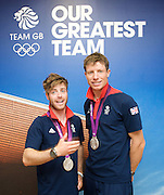 Olympics London 2012 <br /> Team GB Press Conference<br /> 12th August 2012 <br /> at Team GB HOuse, Stratford, London, Great Britain <br /> <br /> <br /> Luke Patience and Stuart Bithell <br /> Men's 470 Sailing<br /> Silver Medalists <br /> <br />  <br /> <br /> <br /> Photograph by Elliott Franks