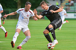 Luka Susnjara of NS Mura vs Drilon Kryeziu of NK Triglav Kranj during football match between NS Mura and NK Triglav Kranj in 1st Round of Prva liga Telekom Slovenije 2018/19, on July 21, 2018 in Mestni stadion Fazanerija, Murska Sobota , Slovenia. Photo by Mario Horvat / Sportida