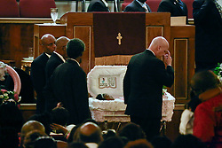 07 September 2013. New Hope Baptist Church. New Orleans, Louisiana. <br /> Mayor Mitch Landrieu attends the funeral service for 1 year old toddler Londyn Unique Reed Samuels, shot to death August 29th.  The infant Londyn was shot by thugs whilst in the arms of her babysitter, the intended victim who was holding Londyn whilst walking down the street at the time of the assault. NOPD has arrested 2 men in connection with the heinous crime.<br /> Photo; Charlie Varley