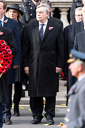 © Licensed to London News Pictures. 12/11/2017. London, UK. Former British Prime Minister GORDON BROWN attends a Remembrance Day Ceremony at the Cenotaph war memorial in London, United Kingdom, on November 13, 2016 . Thousands of people honour the war dead by gathering at the iconic memorial to lay wreaths and observe two minutes silence. Photo credit: Ray Tang/LNP