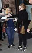 Nov. 15, 2015 - New York City, NY, USA - <br /> <br /> Singer Adele signed autographs and posed with fans as she left a downtown hotel on November 15 2015 in New York City  <br /> ©Exclusivepix Media