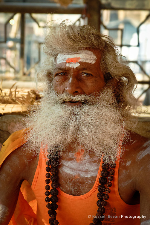 A Hindu holy man at the ghats in Varanasi, Uttar Pradesh, India