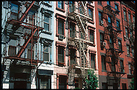 Typical Eastcoast brick buildings in New York, with fire exits.