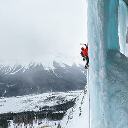 Marco Desalle ice climbing Ice Nine, WI6, along the Icefields Parkway in Alberta, Canada