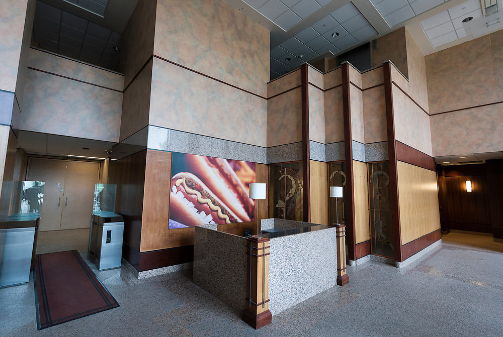 A view of the main lobby entrance of the former Oscar Mayer headquarters building in Madison, WI on Friday, May 17, 2019.