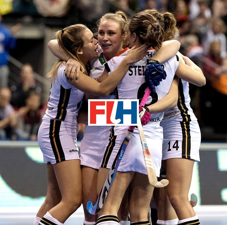 BERLIN - Indoor Hockey World Cup<br /> Semi-final: Belarus - Germany<br /> foto: Germany celebrate.<br /> WORLDSPORTPICS COPYRIGHT FRANK UIJLENBROEK