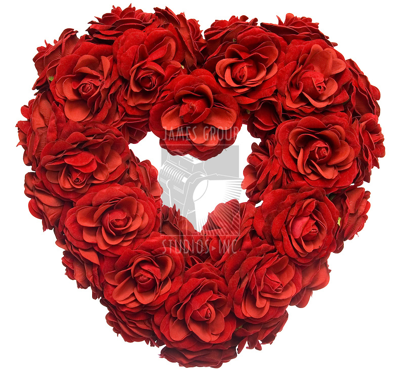 Valentine heart shape made from red roses
