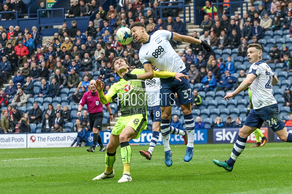 Preston North End Striker Callum Robinson heads the ball clear during the EFL Sky Bet Championship match between Preston North End and Reading at Deepdale, Preston, England on 11 March 2017. Photo by Pete Burns.