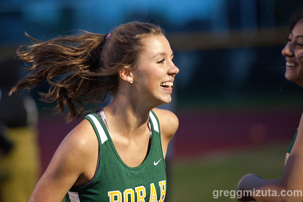 Borah's sprint medley relay member Katelyn Powell is all smiles following their runner-up finish at the YMCA Track &amp; Field Invitational at Mountain View High School, Meridian, Idaho. April 22, 2016<br /> <br /> Borah's sprint medley relay (100-100-200-400m) team (Kiana Corpus, Amanda Chipman, Katelyn Powell, Malia Vineyard) finished second (1:51.75) behind Pocatello (1:51.04).