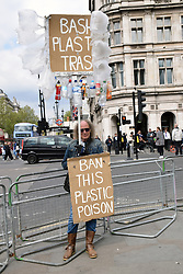 Anti plastics protest outside House of Commons, London UK 29 April 2019