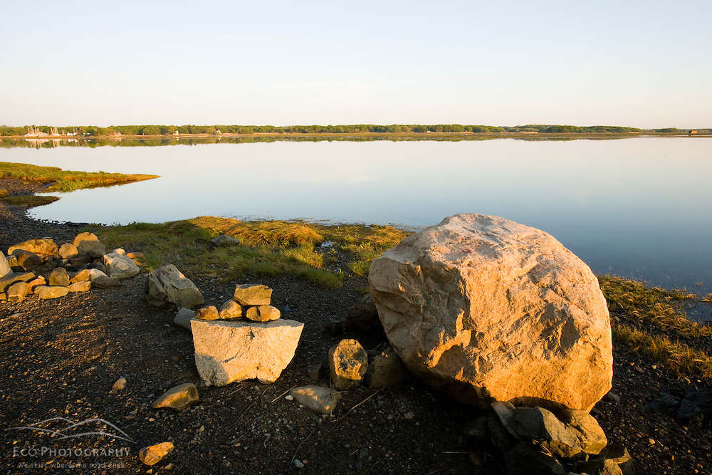 Rocks on the shoreline at the Strawberry Hill Preserve in Ipswich, Massachusetts.  Eagle Hill River.