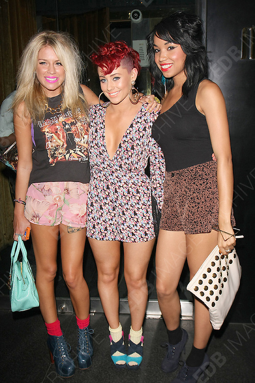 28.JULY.2011. LONDON<br /> <br /> GENEVA LANE, REBECCA CREIGHTON AND ESTHER CAMPBELL OF THE POP GIRL GROUP BELLE AMIE AT THE MERAH CLUB IN LONDON<br /> <br /> BYLINE: EDBIMAGEARCHIVE.COM<br /> <br /> *THIS IMAGE IS STRICTLY FOR UK NEWSPAPERS AND MAGAZINES ONLY*<br /> *FOR WORLD WIDE SALES AND WEB USE PLEASE CONTACT EDBIMAGEARCHIVE - 0208 954 5968*