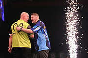 Michael van Gerwin, Three-time & reigning Premier League champion and Daryl Gurney, 2017 World Grand Prix champion. Premier League debutant  during the Unibet Premier League Darts Night 13 competition at the Manchester Arena, Manchester, United Kingdom on 26 April 2018. Picture by Mark Pollitt.
