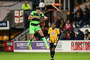 Forest Green Rovers Paul Digby(20) heads the ball clear during the EFL Sky Bet League 2 match between Cambridge United and Forest Green Rovers at the Cambs Glass Stadium, Cambridge, England on 2 October 2018.