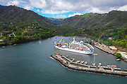 Aranui 5, Cruise ship, Atuona, Hiva Oa, Marquesas, French Polynesia, South Pacific
