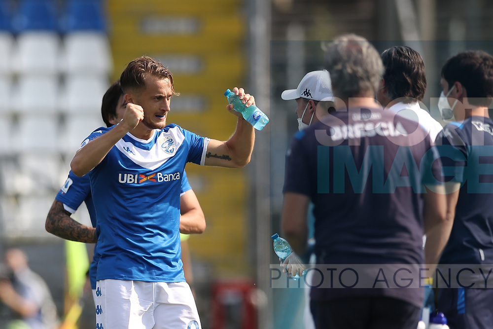 Brescia Calcio's Italian striker Alfredo Donnarumma celebrates after scoring to give the side a 1-0 lead during the Serie A match at Stadio Mario Rigamonti, Brecsia. Picture date: 27th June 2020. Picture credit should read: Jonathan Moscrop/Sportimage