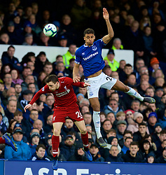 LIVERPOOL, ENGLAND - Sunday, March 3, 2019: Liverpool's Andy Robertson and Everton's Dominic Calvert-Lewin during the FA Premier League match between Everton FC and Liverpool FC, the 233rd Merseyside Derby, at Goodison Park. (Pic by Laura Malkin/Propaganda)
