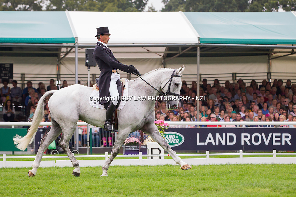 NZL-Andrew Nicholson (AVEBURY) INTERIM-4TH: SECOND DAY OF DRESSAGE: 2014 GBR-Land Rover Burghley Horse Trial (Friday 5 September) CREDIT: Libby Law COPYRIGHT: LIBBY LAW PHOTOGRAPHY - NZL
