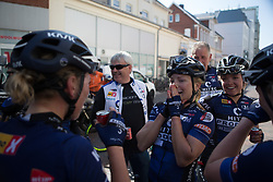 Emilie Moberg (NOR) of Hitec Products Cycling Team celebrates winning Stage 5 of the Healthy Ageing Tour - a 117.9 km road race, starting and finishing in Borkum on April 9, 2017, in Groeningen, Netherlands.