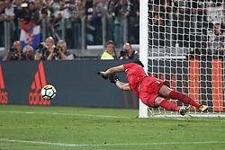 October 14, 2017 - Turin, Italy - Lazio goalkeeper Thomas Strakosha (1) saves the ball on penalty kick shooter by Juventus forward Paulo Dybala (10) during the Serie A football match n.8 JUVENTUS - LAZIO on 14/10/2017 at the Allianz Stadium in Turin, Italy. (Credit Image: © Matteo Bottanelli/NurPhoto via ZUMA Press)