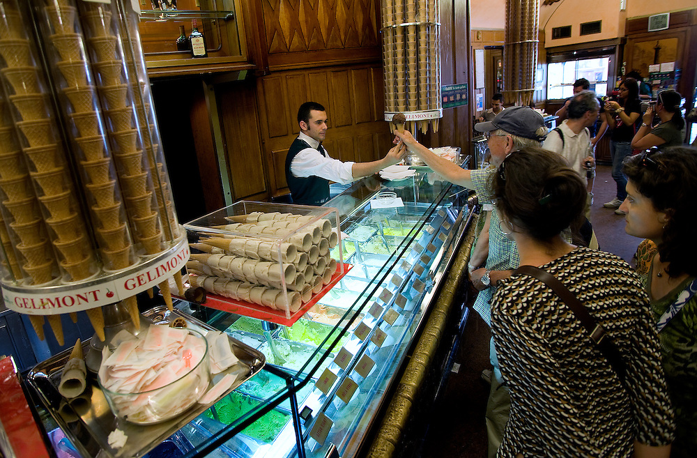 Giolitti is a well-known càfe, pastry shop and gelato parlor in Rome, Italy. It was founded in 1890 by Giuseppe and Bernardina Giolitti. It is still owned by the same family...The càfe is most famous for its gelato, which comes in dozens of different flavors produced according to secret recipes. The rare flavours include champagne, cassata siciliana, ricotta, marsala custard and rice. The Giolitti family has several times refused to sell its brand and recipes to large dairy companies. The cáfe is popular with both tourists and locals and is listed in many guide books.