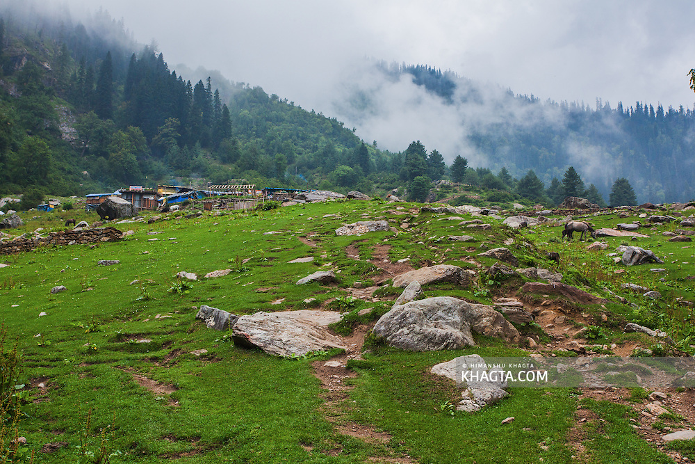 First view of Kheerganga after ending the 10 plus kilometer hike from barsheni in Parvati valley in Kullu, Himachal Pradesh, India