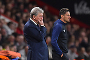 Crystal Palace manager Roy Hodgson in the technical area looking worried during the Premier League match between Bournemouth and Crystal Palace at the Vitality Stadium, Bournemouth, England on 1 October 2018.
