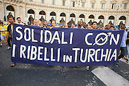 Roma 20  Giugno 2013<br /> Manifestazione di solidarietà a sostegno dei manifestanti turchi di Piazza Taksim e di protesta contro la violenza e la repressione del governo turco di Erdogan.<br /> Rome, Italy. 20th June 2013<br /> Demonstration of solidarity in support of the Turkish protesters of Taksim Square and protest against the violence and repression of PM Erdogan's Turkish government